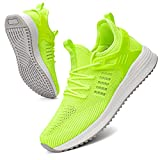 SDolphin Tennis Shoes for Men - Non Slip Running Shoes for Work Walking Gym Workout Athletic Casual Comfort Breathable Men's Sneakers Lime Green Size 7