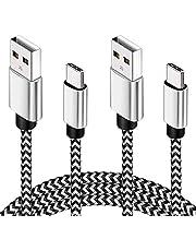 USB C-kabel 3M 2-pack typ C laddningskabel 10 fot certifierad nylonflätad PS5-kontroll laddningskabel kompatibel med Samsung S10/S9/S8 Plus/Note 8, Huawei P30/P20/P10, Pixel