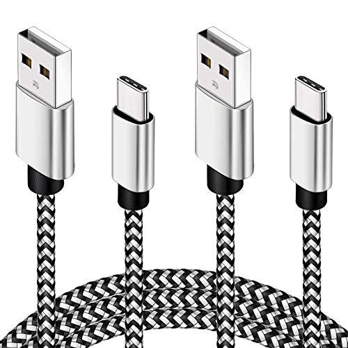 USB C Kabel 3M, 2 Pack Type USB C Ladekabel 10ft Zertifiziertes Nylon Schnellladekabel, Kompatibel für PS5 Controller, Samsung S20 / S10/ S9 / Note 10, Huawei P40 P30, Pixel, MacBook, Switch