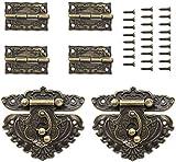 Caja de joyería retro con bisagra y cierre de bronce vintage grabado con tornillos a juego para gabinete decorativo pequeño caja de madera antigua proyecto de manualidades