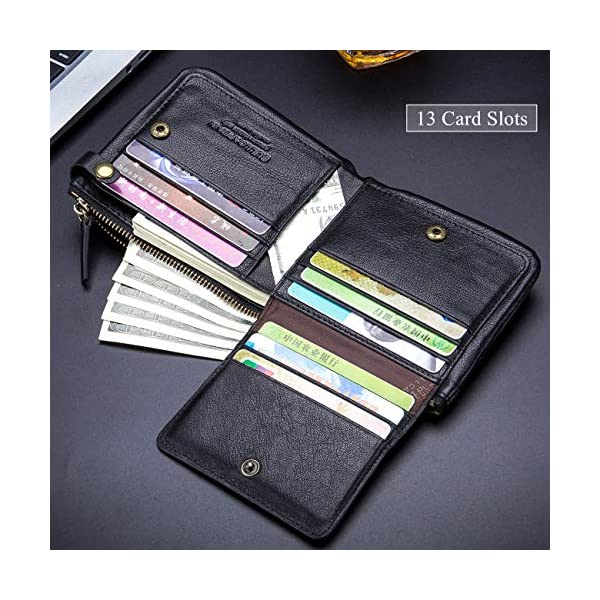 BULLCAPTAIN RFID Protected Mens Flip Wallets for Men with Zipper Leather Bifold Wallet 13 Card Slots QB58 3