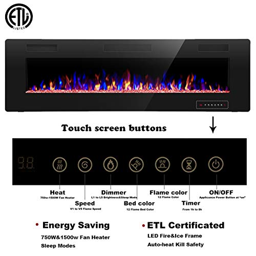 R.W.FLAME 60 inch Recessed and Wall Mounted Electric Fireplace , Ultra Thin and Low Noise,Fit for 2 x 6 Stud, Remote Control with Timer,Touch Screen,Adjustable Flame Color and Speed