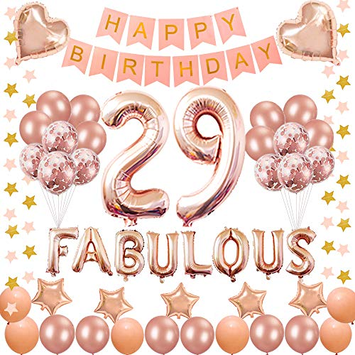 Succris 29TH Birthday Decorations - for 29 Years Old Birthday Party Supplies pink Happy Birthday Banner Rose Gold Confetti balloons Number 29 Star balloons and fabulous rose