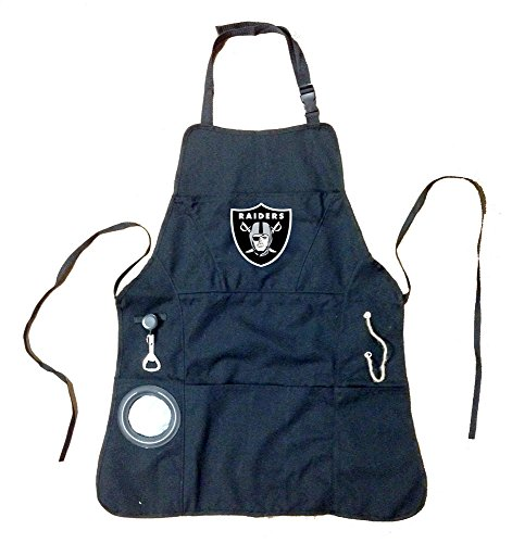 Team Sports America NFL Las Vegas Raiders Ultimate Grilling Apron Durable Cotton with Beverage Opener and Multi Tool For Football Fans Fathers Day and More