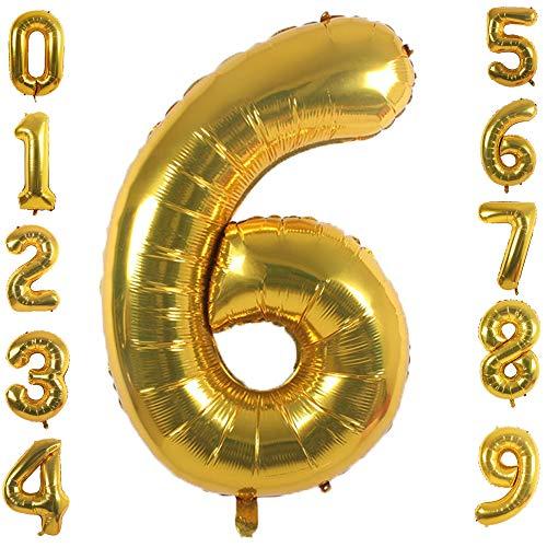 PartyMart Gold Foil Balloons Number 6, 42 inch Delaware
