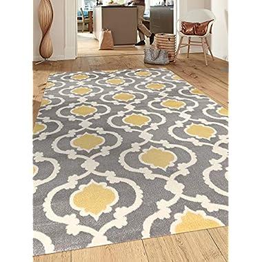 Rugshop Moroccan Trellis Contemporary Indoor Area Rug, 5'3  x 7'3 , Gray/Yellow