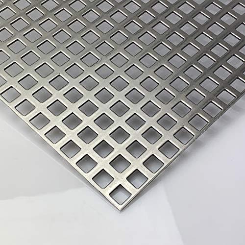 Stahl Blank Lochblech QG10-15 Stahl 2 mm dick Lochblech Zuschnitt nach Wunschmaß (1000 mm x 150 mm)