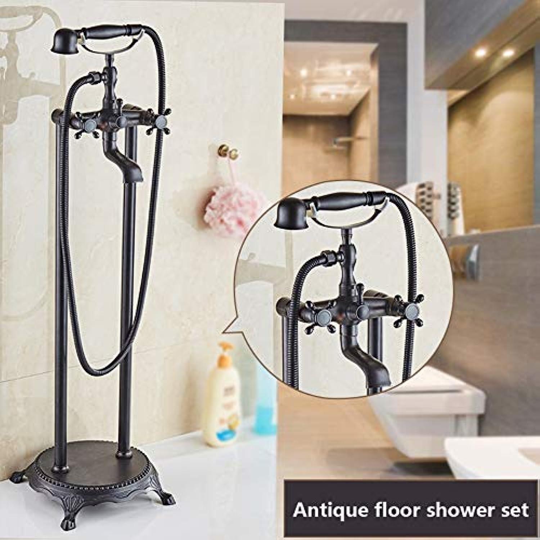 XSGDMN Messing Badezimmer Dusche Wasserhahn Set, Boden stehende Badewanne Wasserhahn Duschsystem mit Handbrause, europischen Retro-Stil und einfach zu InsGrößetion,A
