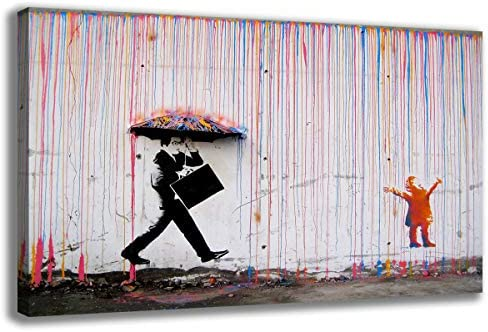 Banksy Street Art Rainbow Rain Picture Giclee Prints Painting for Home Living Room Decoration product image