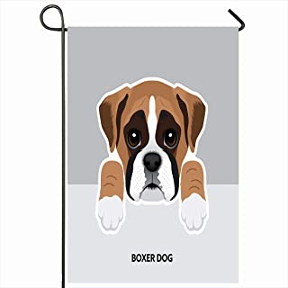 Ahawoso Outdoor Garden Flags 12x18 Inch Black Blue Face Boxer Dog Puppy Paw Brown Cute White Vertical Double Sided Home Decorative House Yard Sign