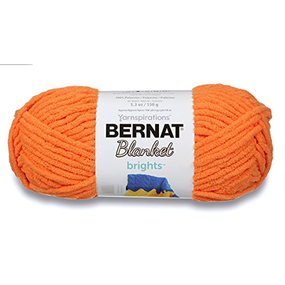 Bernat Blanket Brights Yarn, 5.3 oz, Gauge 6 Super Bulky Chunky, Carrot Orange