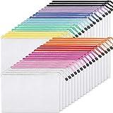 EOOUT 36pcs Plastic Mesh Zipper Pouch Document Bag, Plastic Zip File Folders in 11 Colors, Letter...