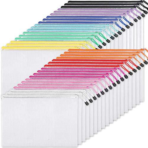 EOOUT 36 bolsas de plástico de malla con cremallera, carpetas de plástico con cremallera en 11 colores, tamaño de carta/tamaño A4, para suministros de oficina escolar, bolsas de almacenamiento de viaje