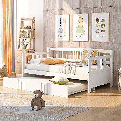 Twin Daybed met onderschuifbed, houten bed met Twin Size onderschuifbed, Captains Bed Twin bedframe voor kinderen (wit)