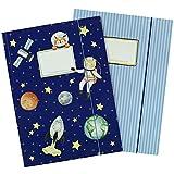 2 cartelle scolastiche di alta qualità per bambini DIN A4 | motivo astronauta - cartella postale per studenti di scuola elementare - raccoglitore di quaderni - pinzatrice a sella - set numero 5