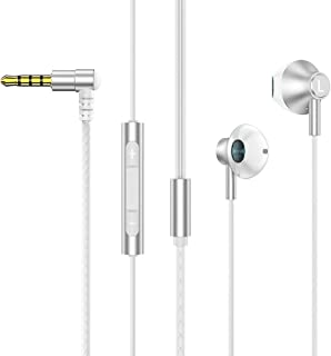 【収納袋付】 インナーイヤー型 イヤホン 有線 マイク付きHD通話可能 ステレオ 軽量 イヤフォン 重低音重視 ハイレゾ相当の リモコン(3ボタン) 付 音量調整 3.5mmプラグ iPhone/Android/PCなどに対応 (銀)