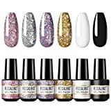 ROSALIND White Black Glitter Gel Nail Polish 6pcs,Nail Art Design Decoration Soak Off Nail Gel Set