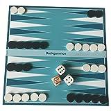 Spieltz 52177: juego de viaje Backgammon con plan de juego lavable (lona de camiones), ideal para jugar en la playa o en el jardín cervecero. Se puede jugar en cualquier superficie.