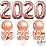 Rose Gold 2020 Balloons and Confetti Balloons - Full Round Rose Gold Foil Balloons | New Years Eve Party Supplies 2020 | Graduation Party Supplies 2020 | NYE Decorations | New Years Eve Decorations