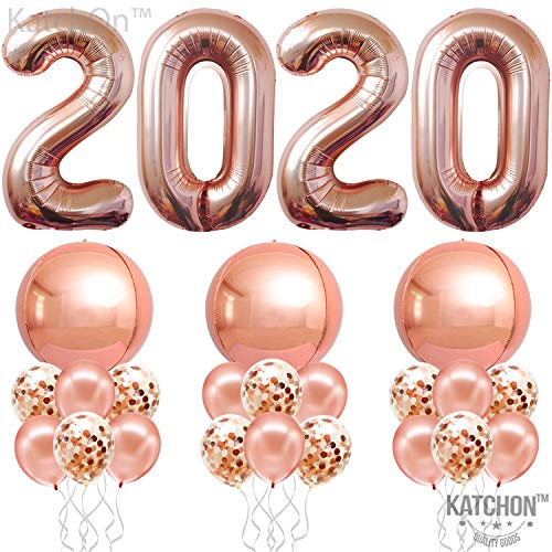Rose Gold 2020 Balloons and Confetti Balloons - Full Round Rose Gold Foil Balloons   New Years Eve Party Supplies 2020   Graduation Party Supplies 2020   NYE Decorations   New Years Eve Decorations