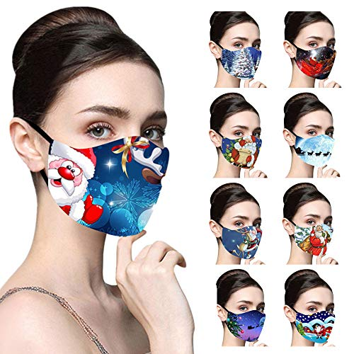 EvaFAST Christmas MMaskss with Adjustable Strap - 10PC Adults Xmas Santa Claus & Snowman Print Cotton Face Bandanas, Outdoor Dust Windproof Breathable Mouth Covering, Reusable & Washable (B)