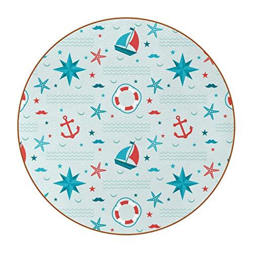 Posavasos divertidos para bebidas, bar, regalo de inauguración de la casa, juego de 6,4.3 pulgadas, patrón náutico ancla estrella de mar barco