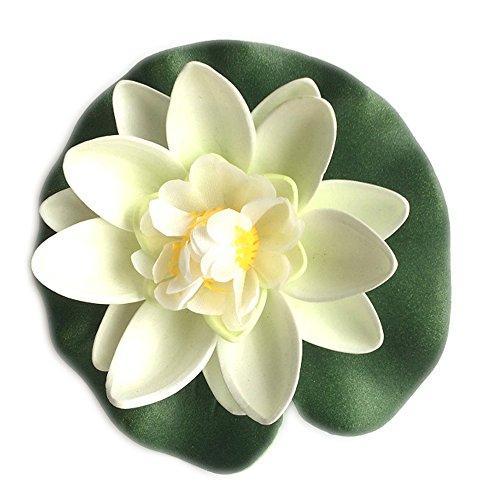 Dosige Seerose Wasserlilie Teichpflanzen Schwimmend Lotusblüte Künstliche Lotusblume Deko Nymphaea Simulation Wasserpflanzen Weiß