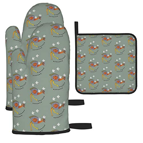 Wfispiy Emu On The Plains Tiny. Heat Resistant Oven Gloves Silicone Oven Glove Funny Oven Mitts,Perfect for Baking BBQ Cooking Grilling