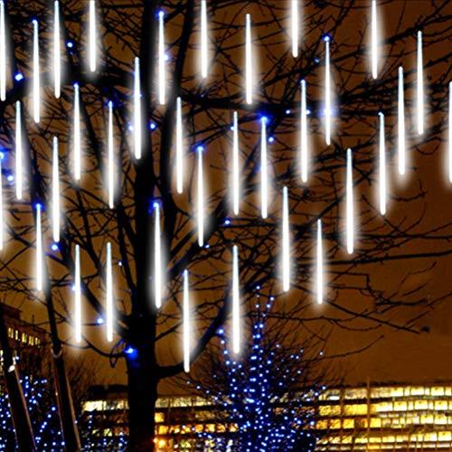 barsku Luces solares de cadena al aire libre, 10 tubos de 360LED Luz de lluvia de lluvia de meteoritos con energía solar, luces de Navidad que caen gotas de lluvia