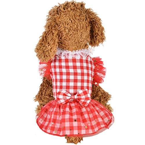 Wakeu Small Dog Girl Dress Pet Puppy Cat Summer Clothes Wave Point Pearl Shirt (S, Pink)