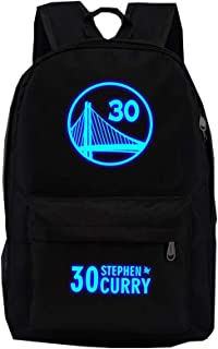 No. 30 Golden State Warrior Stephen Curry Luminoso Rayo Mochila Junior High School Estudiante que viaja Ocio Cercanías Moda Gran capacidad Ligero Confort Bolsa de cremallera