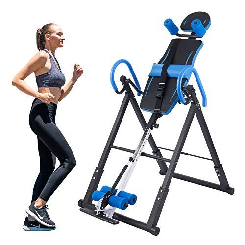 Z ZELUS Tabla de Inversión Plegable para Fitness en Casa Tabla de Inversión Gravitacional de Altura Ajustable 130cm-185cm Banco de Inversión por Gravedad con Respaldo Acolchado (Azul)