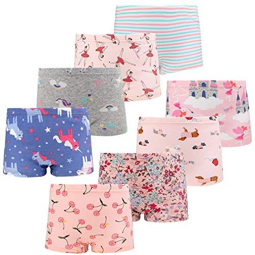 FLYISH DIRECT Mädchen Boxershorts Mädchen Unterwäsche Unterwäsche Baumwollene Boyshort Höschen für Kleine Mädchen 8er Pack,4-5Jahre
