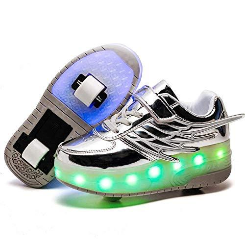 MY1MEY Einrad-Sneaker-Schuhe Kinder-Rollschuhschuhe mit Doppelrädern LED-Blinklicht Leuchtend Einziehbar Technisches Skateboarding Multisportschuhe Outdoor-Sport Gymnastik-Sneakers, Silber, 31