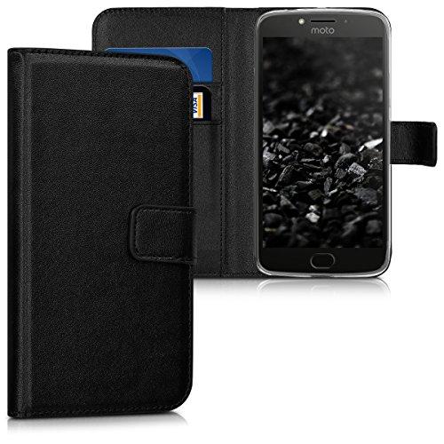 kwmobile Hülle kompatibel mit Motorola Moto E4 Plus - Kunstleder Wallet Hülle mit Kartenfächern Stand in Schwarz