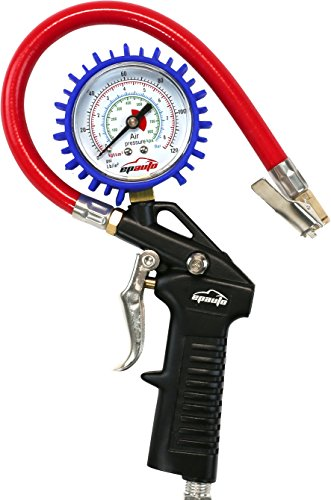 EPAuto Heavy Duty 120 PSI Tire Inflator Gauge with Hose and Quick Connect Plug