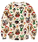 AIDEAONE Unisex Ugly Novelty Christmas Jumper Dogs Print Long Sleeve T-Shirt, Dogs, L