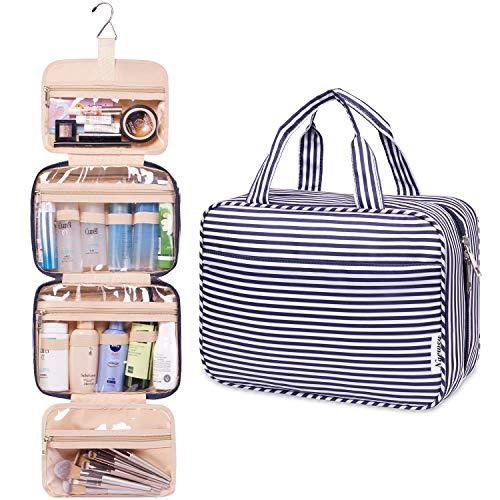 Groß Reise Kulturtasche Zum Aufhängen Kulturbeutel Kosmetiktasche Waschtasche für Kinder Frauen Mädchen Damen (Blauer Streifen)