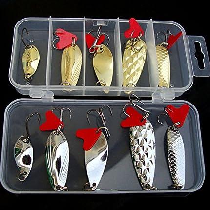 Juego de 10 señuelos de pesca duros para pesca de agua dulce de imitación de goma, cuchara de pesca, manivela, agua salada, anzuelos, caja de pesca