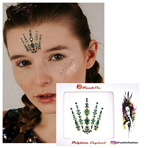 Face Gems/Jewels for Festivals/All In one Stick on Crystal Headpiece/Festival Bindi Rhinestone Glitter Tattoo/Forehead Jewellery/Diamonte Stickers Fac