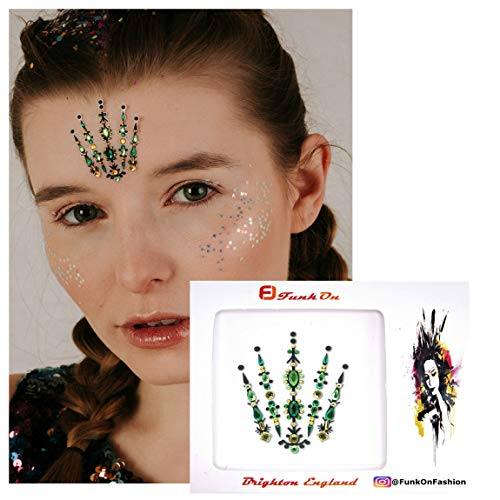 Face Gems/Jewels for Festivals/All In one Stick on Crystal Headpiece/Festival Bindi Rhinestone Glitter Tattoo/Forehead Jewellery/Diamonte Stickers Face/Body Festival Makeup accessories bc10grg