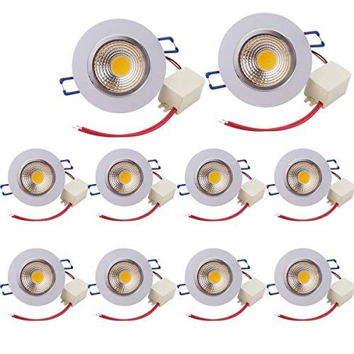 Paquete de 10, Pocketman 7W 700 lúmenes 3.4 pulgada LED COB ahorro de energía empotrado techo Downlight kit con controlador de LED (blanco cálido, 2800K-3000K)
