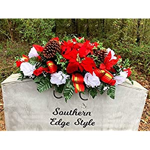 Christmas Saddle, Christmas Headstone Topper, Grave Pillow, Grave Decoration, Cemetery Flowers, Christmas Headstone Saddle