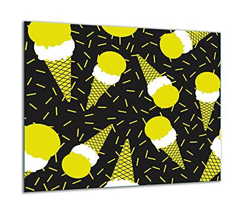 TMK | Placa de cristal para cubrir la cocina de 60 x 52 cm, una sola pieza, protección contra salpicaduras, decoración Pop Art
