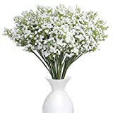 YSBER 10Pcs Baby Breath/Gypsophila Artificial Fake Silk Plants Wedding Party Decoration Real Touch Flowers DIY Home Garden(White)