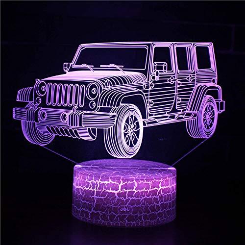 3D ilusión noche luz para niños regalo de cumpleaños SUV 16 color cambiante lámpara lámpara de escritorio nueva 3D LED noche luces LED táctil remoto y 16 colores cambiables