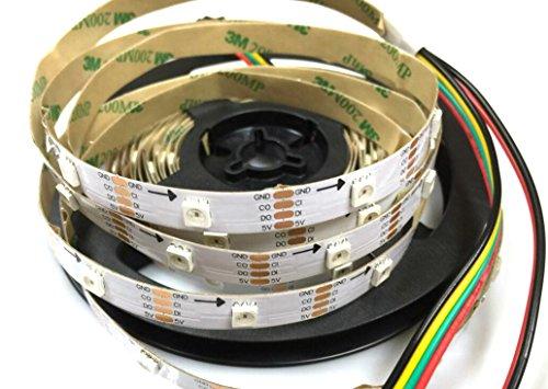 APA102 Smart LED-Pixelstreifen, 30 LEDs/Pixel/m, nicht wasserdicht, IP30 Daten und Uhr, getrennt DC 5 V (weiße Leiterplatte), 5 m