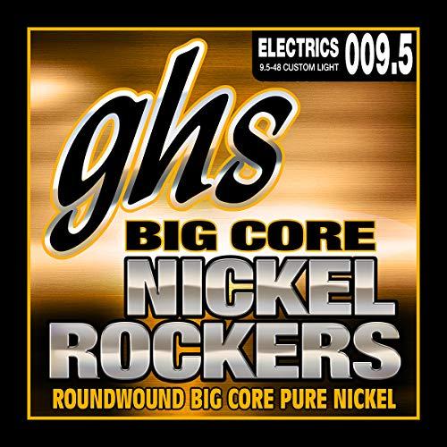 GHS Strings BCCL Big Core Nickel Rockers, Pure Nickel Electric Guitar Strings, Custom Light (.009 1/2-.048)