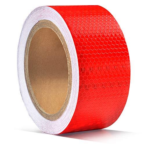 5cm X 10m Pegatina de cinta reflectante, ONTWIE Cinta Reflectante Adhesiva Pegatina Seguridad Alta Intensidad Pegatina Autoadhesivo Seguridad Advertencia para Coche Camión - Rojo