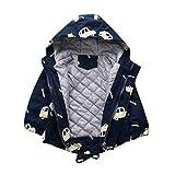 heavKin-clothes Boys Winter Cotton Coat Children's Kids Printing Zip Drawstring Wadded Jacket Padded Warm Outerwear (Navy, 18-24 Months)